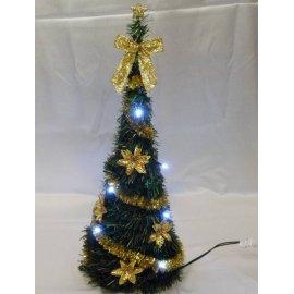 Vianočný kužel - LED10 - zdobený - Zlatý - 70 cm